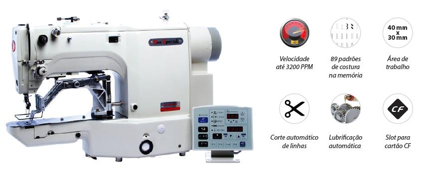 Máquina Costura Industrial Travete Eletrônico Rolamentada